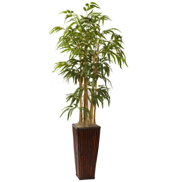 Nearly Natural Bamboo Silk Plant with Decorative Planter - 6737