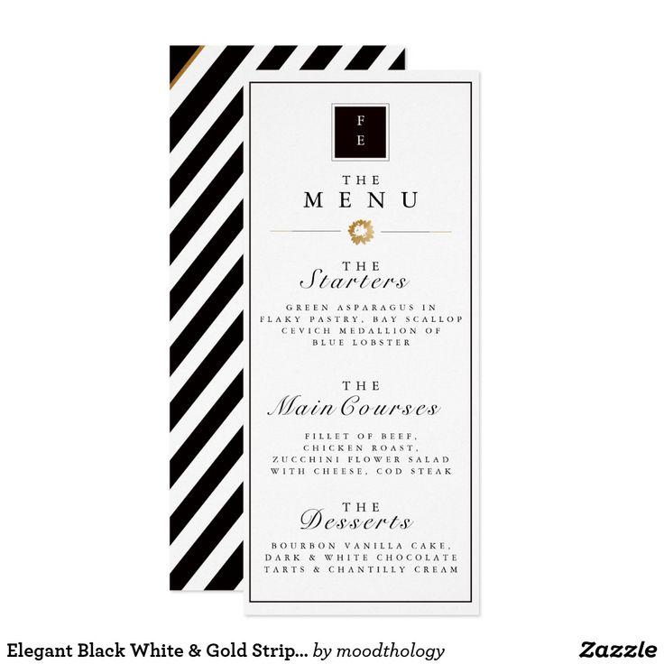 Elegant Black White & Gold Stripe Wedding Menu