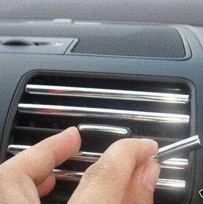 4M U Style DIY Car Interior Air Conditioner Outlet Vent Grille Chrome Decoration Strip Silvery
