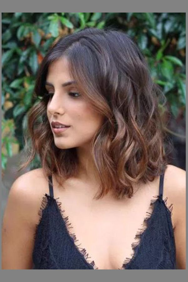 Glamerous Shoulder Length Brunettes Bob Hairstyle For Womens With Round Face In 2019 Wavy Bob Hairstyles Thick Hair Styles Hair Styles