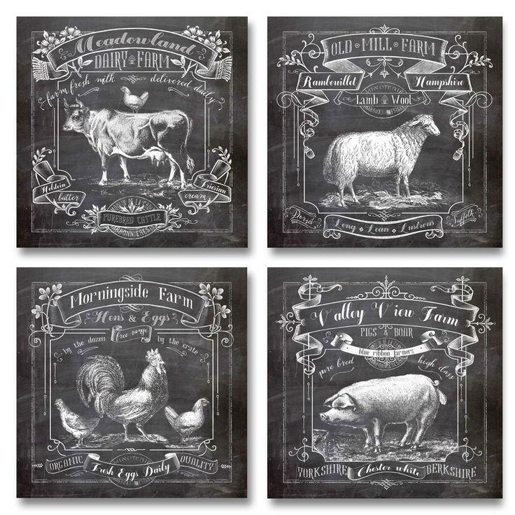 Amazon.com: Chalkboard Kitchen Art; Dairy Farm, Old Mill Farm, Mornighside Farm, Valley View Farm; Sheep, Cow, Rooster, Pig; Four 12x12in Prints: Prints: Posters & Prints