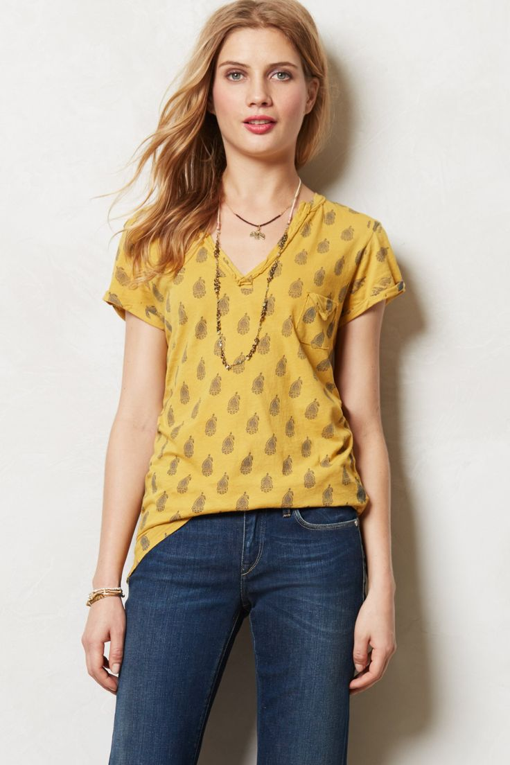 Printed Raw-Edge V-Neck - anthropologie.com #MadeInTheUSA