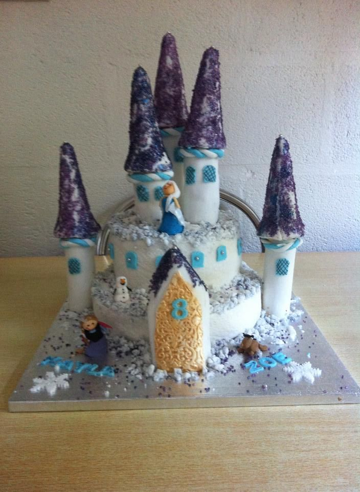 Frozen Castle Cake with Elsa, Anna, Olaf and Sven