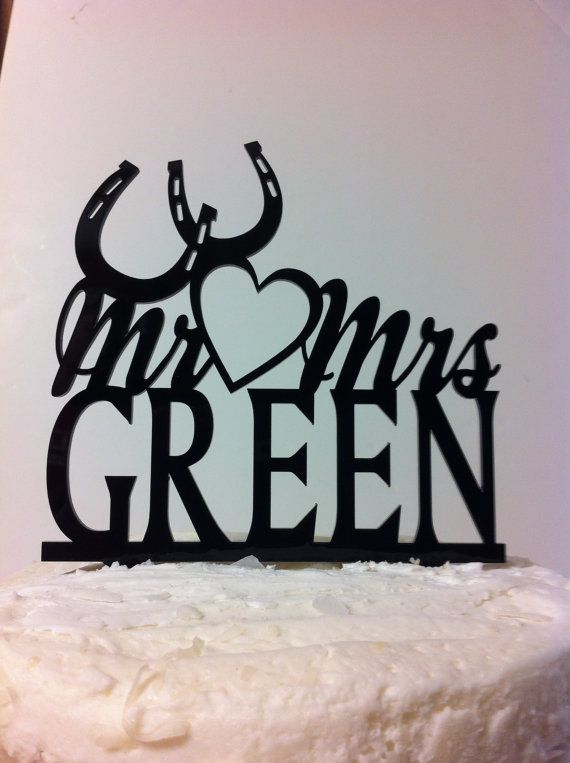 Acrylic Personalized Monogram  Open Heart And Horseshoes  Mr & Mrs YOUR Surname, YOUR Last Name Custom Wedding Cake Topper