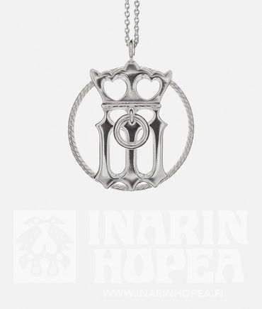 Virgin Mary Pendant, 35 mmVirgin Mary Pendant, 35 mm  There is a Gothic letter M with a crown at the bottom of the jewel, representing the Virgin Mary, the Queen of Heaven.  Diameter 35 mm Chain 60 cm Sterling Silver 925 Handmade in Inari, Lapland  Price 89,00€