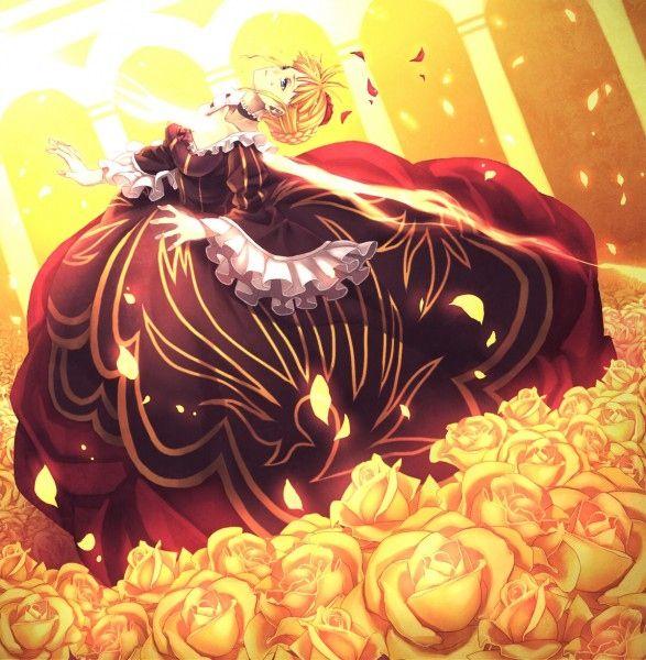 аниме, офигенно, светлые волосы, смерть, платье, эпично, золотое, роза, викторианский стиль