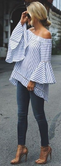 Blue and white off shoulder bell sleeve top