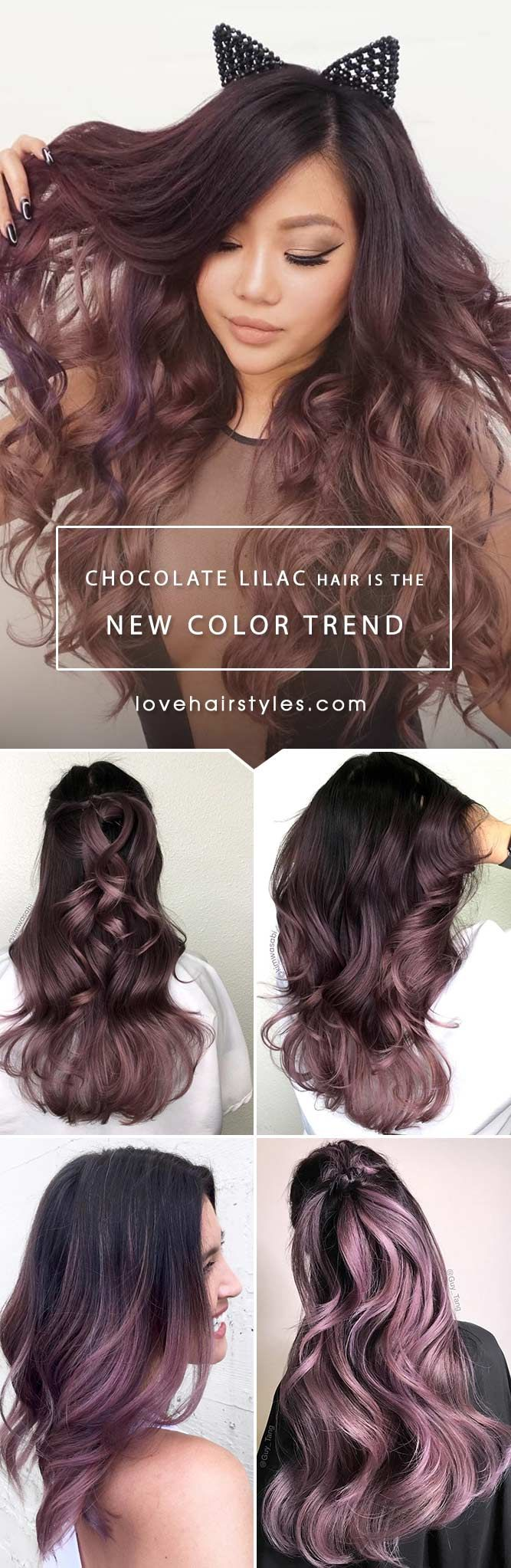 Chocolate lilac hair has become trendy these days. Have you already seen all the latest hot shades? You can observe them in our photo gallery.