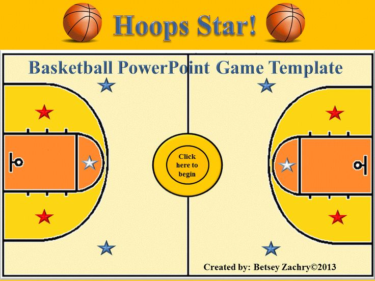 "This easy-to-use PowerPoint game template based on a basketball theme is a great way to review for a big test or quiz. It is easy to set up and play. Just type in the questions and answers and your class will be ready to ""shoot some hoops"" and become classroom ""stars."" This product by Betsey Zachry is available online at www.teacherspayteachers.com/Store/Betsey-Zachry"