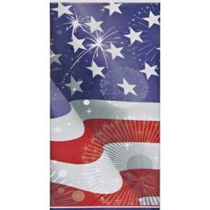 Nappe en plastique sur le thème des Etats-Unis avec le drapeau en toile de fond.