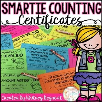 Motivate your little ones to reach oral counting goals with these certificates!These certificates are black and white so you can save ink! I printed mine on Astrobrights paper but any colored paper will work! When you give these out to your students be sure to include a Smartie!