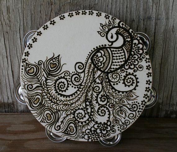 Henna Peacock Tambourine