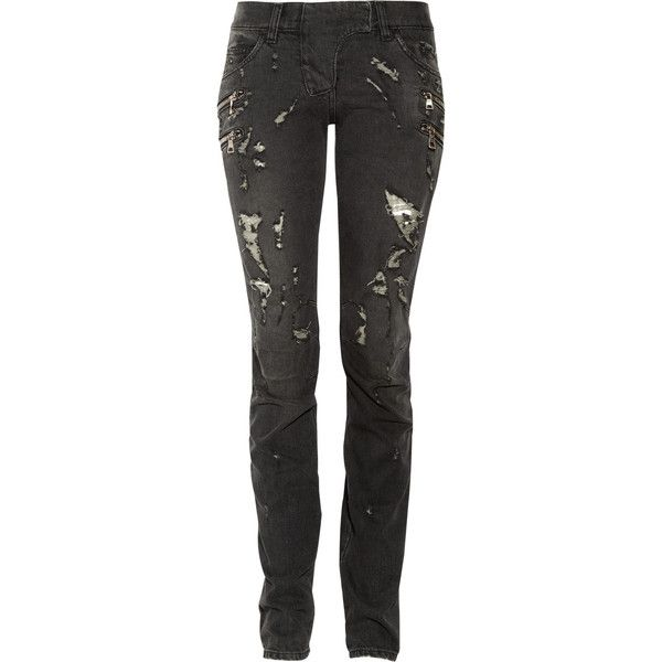 Balmain Distressed black low-rise skinny jeans ($674) ❤ liked on Polyvore