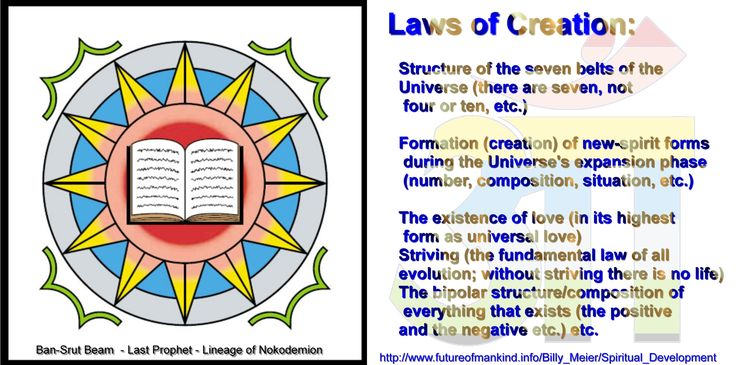 The existence of love (in its highest form as universal love) Striving (the fundamental law of all evolution; without striving there is no life) The bipolar structure/composition of everything that exists (the positive and the negative etc.) etc.   http://www.futureofmankind.info/Billy_Meier/Spiritual_Development