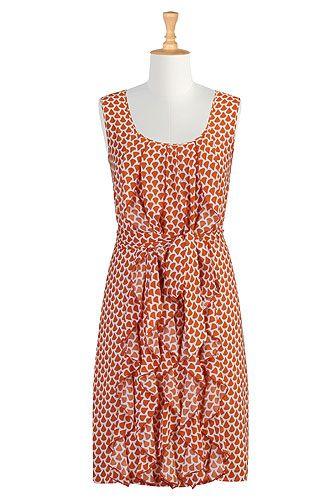 eShakti - Ruffle cascade dress in cream/orangeFashion Dresses, Eshakti Ruffles, 0 26W Clothing, Design Fashion, Ruffles Dresses, Ruffles Cascading, Cascading Dresses, Shops Women, Women Design