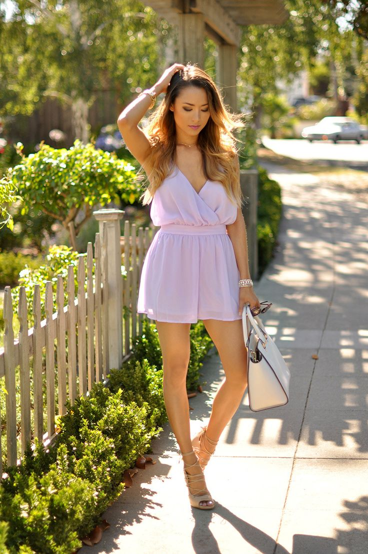 Shop this look on Lookastic: https://lookastic.com/women/looks/pink-playsuit-beige-leather-heeled-sandals-white-leather-tote-bag/14695   — Pink Playsuit  — White Leather Tote Bag  — Beige Leather Heeled Sandals