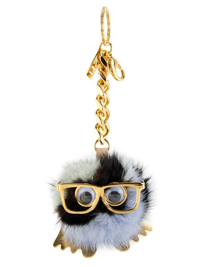 Sophie Hulme Large Pom Pom Keyring Multi-colored mink fur Keyring Gold-tone metal glasses, feet, cut-out logo, and plaque charm Gold-tone chunky chain and grained-leather  LOVE!!!