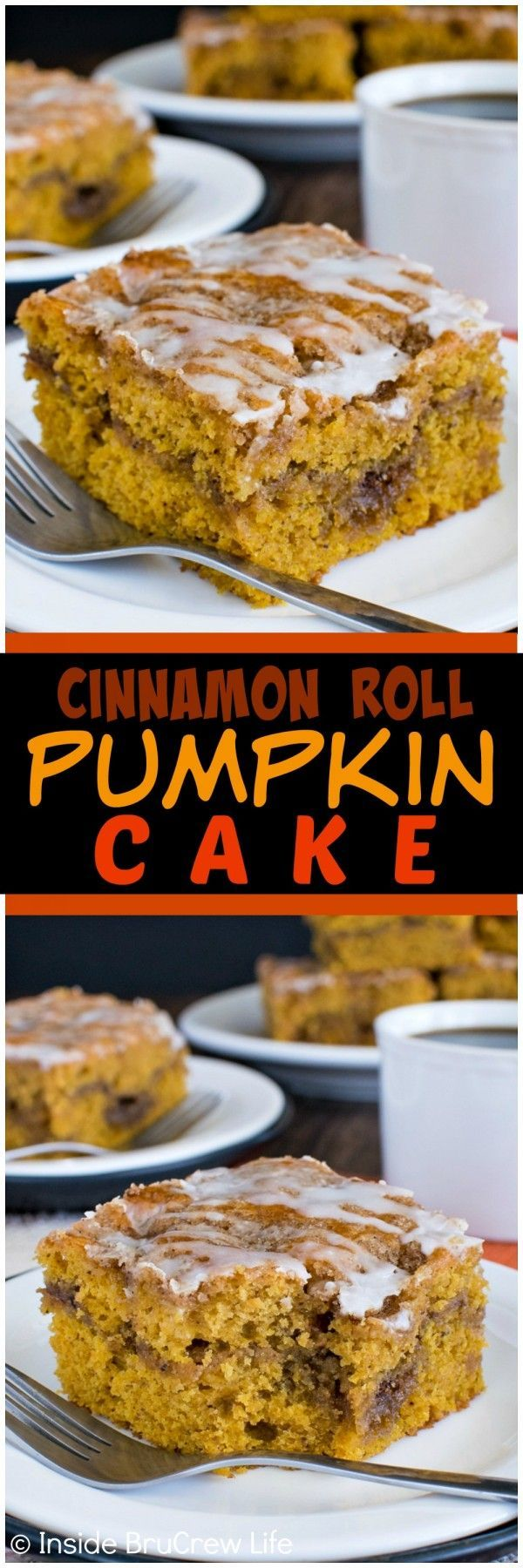 Cinnamon Roll Pumpkin Cake - pockets of cinnamon sugar make this coffee cake the best fall breakfast recipe!