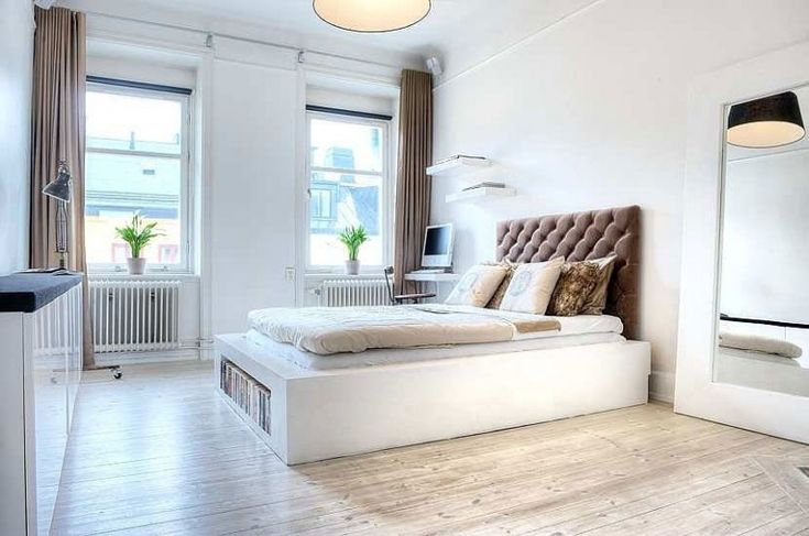Rustic Bedrooms, Bedrooms Design, Stockholm Sweden, White Beds, Interiors Design, Home Decor, White Bedrooms, Frames Mirrors, One Bedrooms Apartments