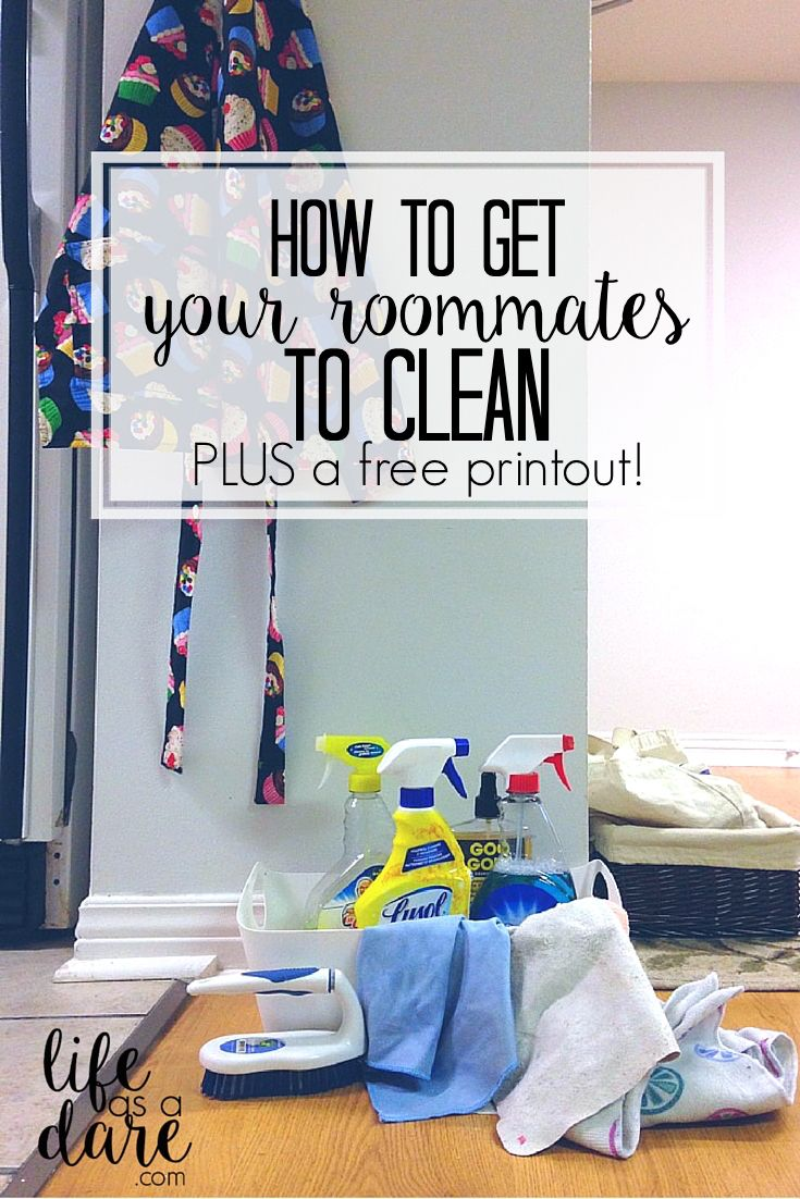 Struggling with how to get roommates to clean? Here are 5 things you can do to help your roommates be a little tidier PLUS a free chores list printout to keep your home looking great!