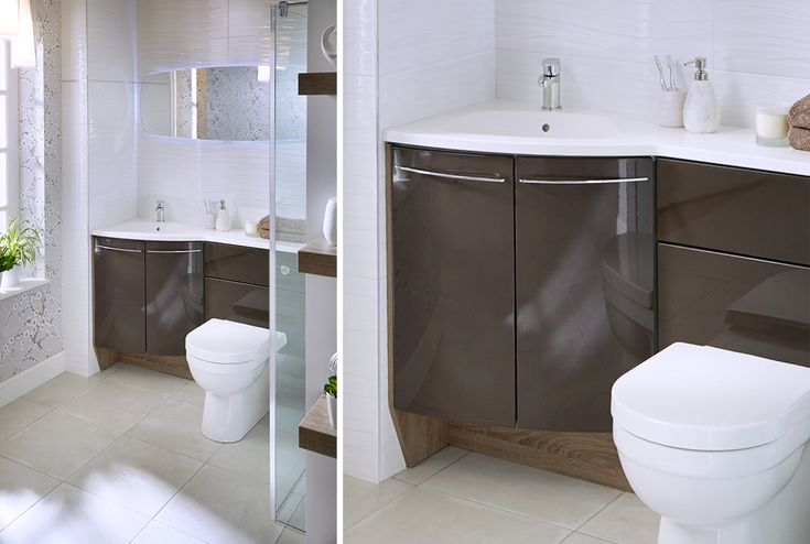 Eye-catching angled solution in a dramatic combination of cocoa gloss and durham oak may be compact, but certainly doesn't compromise on style #symmetry #symmertyfitted #bathroomfurniture #myutopia