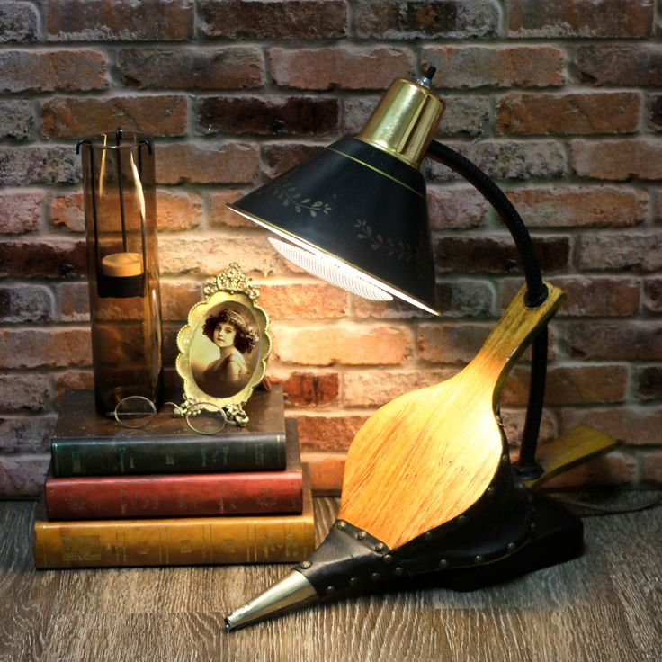 vintage industrial fireplace bellow re purposed into a lamp with brass wood black - Industrial Vintage Wohnhaus Loft Stil