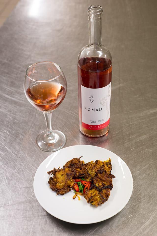 Wine and food pairing. Rose wine. Lamb steak.