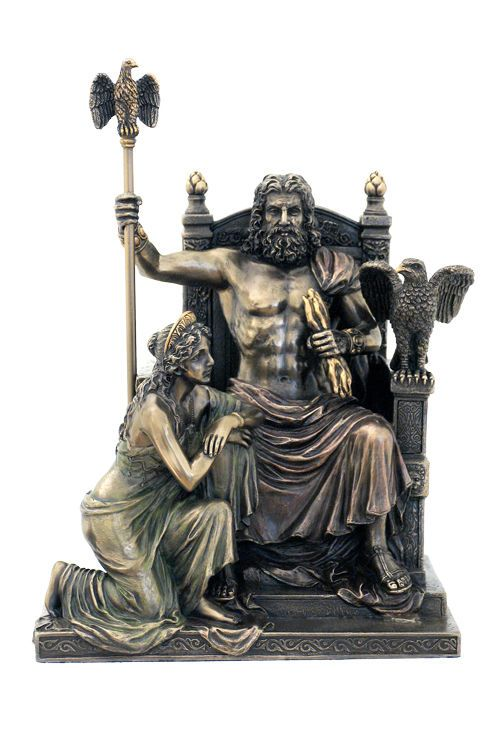 In Greek Mythology, Zeus and Hera were the King and Queen of the Olympian Gods overseeing the universe. Description from ebay.com. I searched for this on bing.com/images