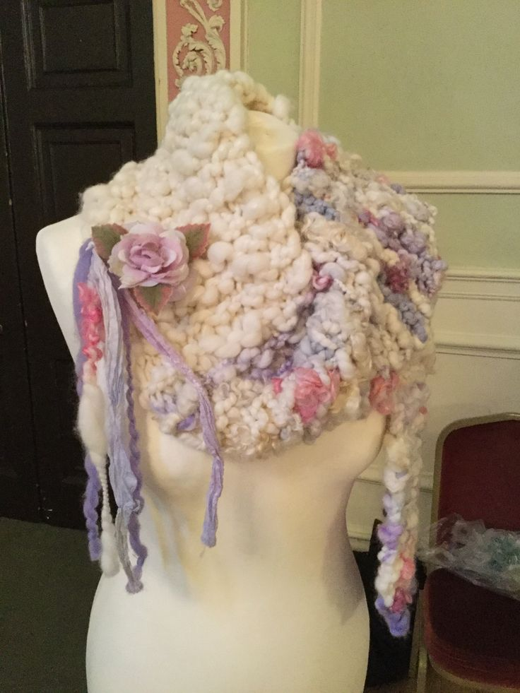 Beautiful knitted chunky handspun wool scarf with fringe and rose made from Perran Yarn recycled sari silk ribbons by Debs of Bramble Cottage inspirations