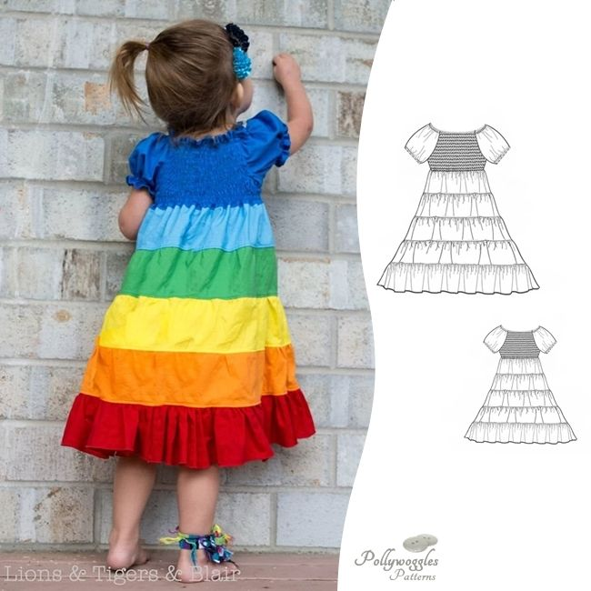 The Felicity Joy is a long tiered dress PDF sewing pattern with a shirred bodice, perfect for a rainbow dress.