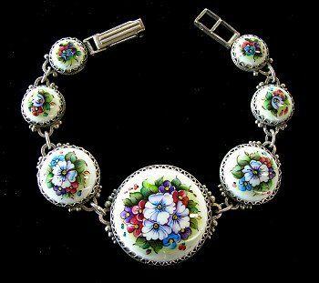 Floral Bracelet Russian Enamel Jewelry by RussianRostovJewell, $75.00