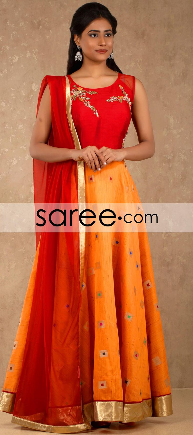 Red and Orange Raw Silk Anarkali Suit with Mirror Work