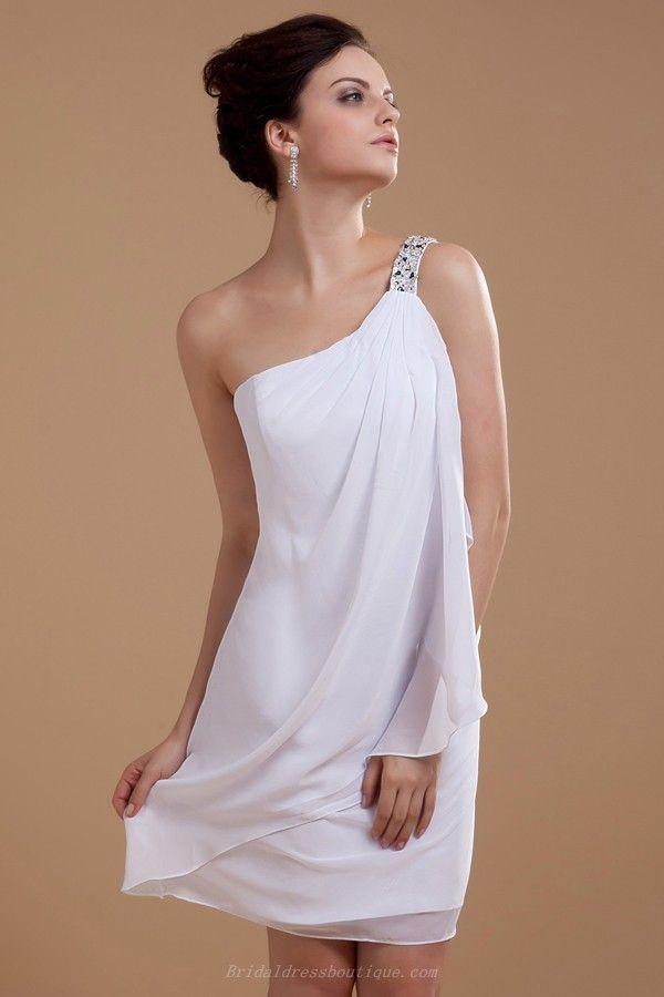 Hot Sell Sheath Beaded One Shoulder Short Summer Wedding Dress