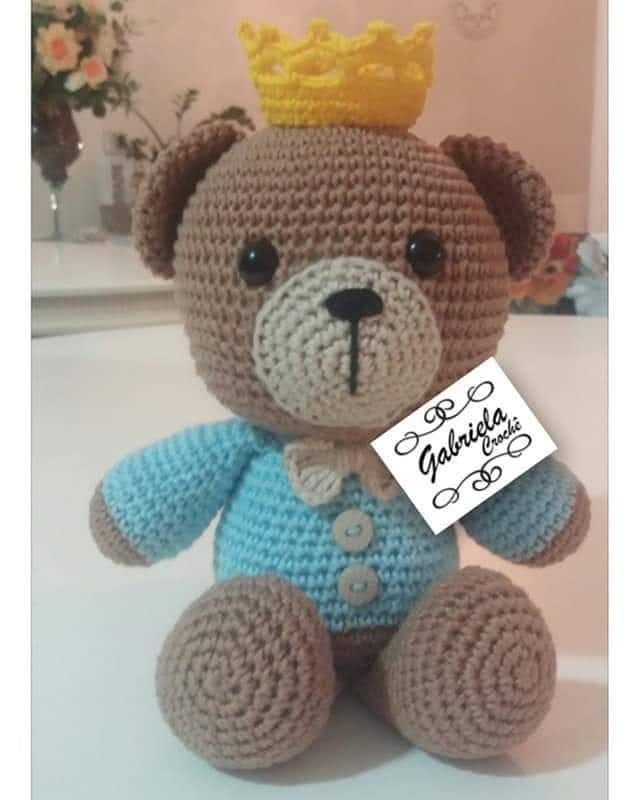 Ursinho de crochê | Urso de crochê, Amigurumi de animais de crochê ... | 800x640