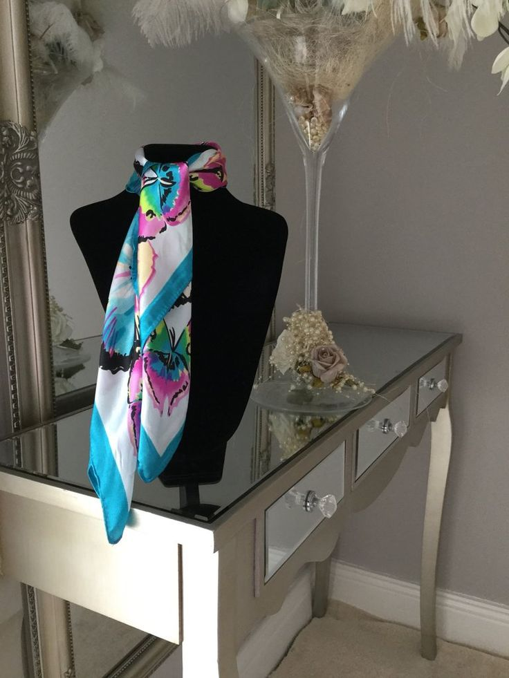 Blue and Purple Butterfly Scarf stunning silk scarf is perfect to tie around your neck in numerous ways
