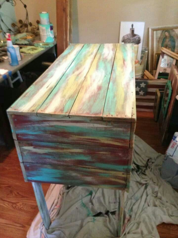 Multicoloured distressed timber