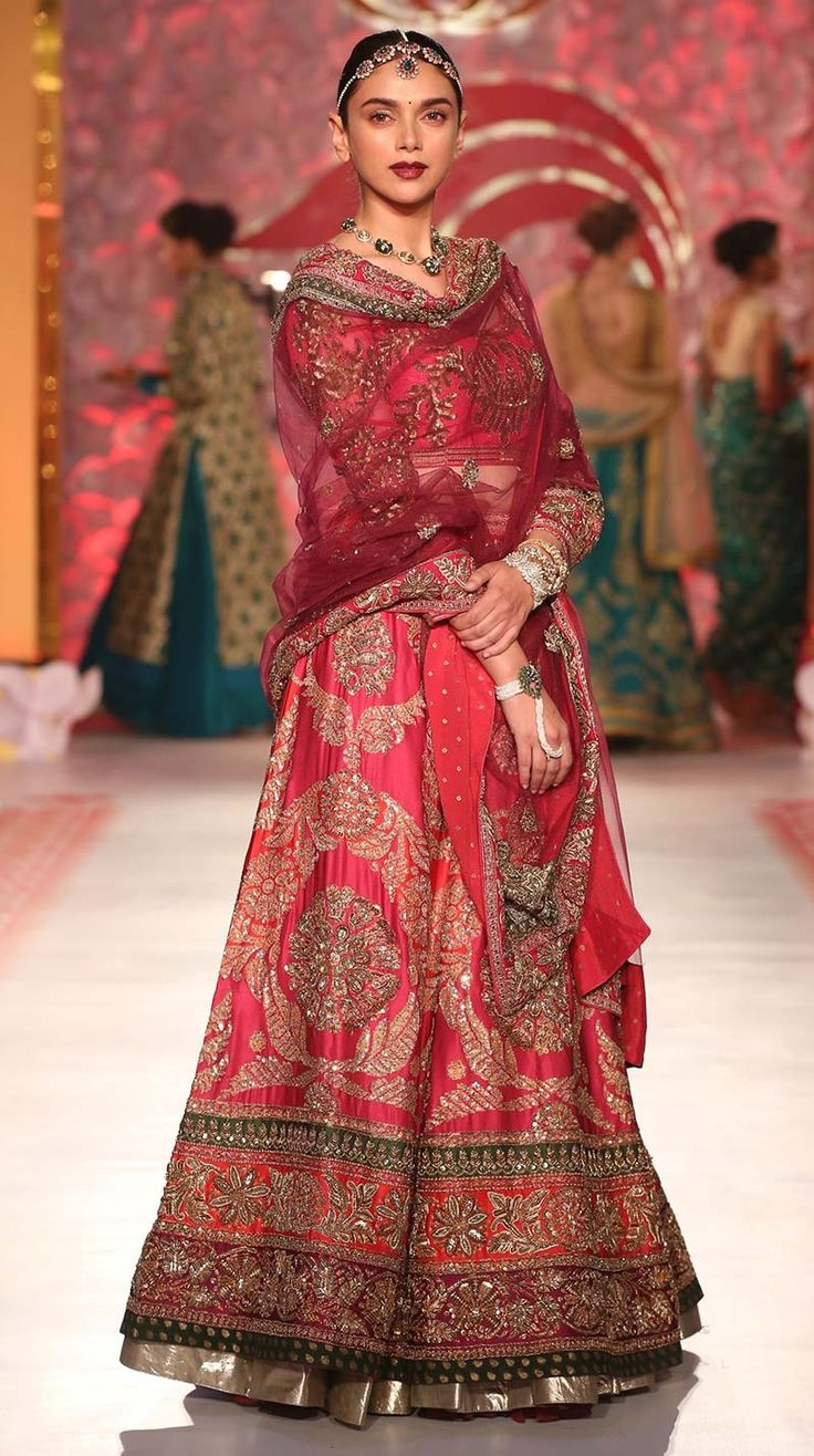 Aditi Rao Red Bridal Lehenga Ensemble With Heavy Hand Zardozi Work