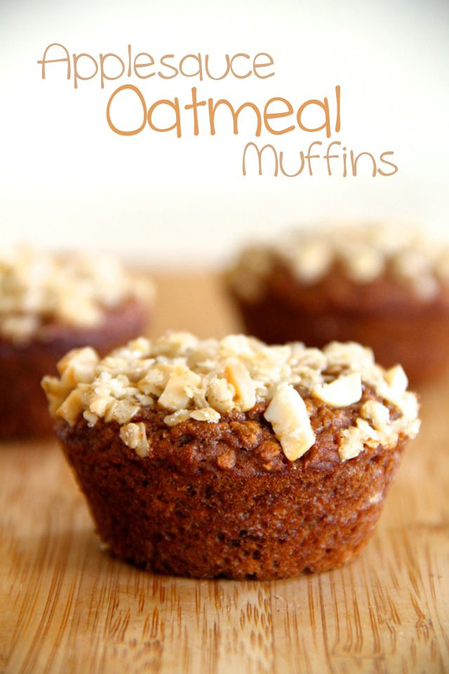 Applesauce Oatmeal Muffins -- A good-for-you muffin that's loaded with applesauce and oatmeal, and sprinkled with a sweet and crunchy almond topping || runningwithspoons.com