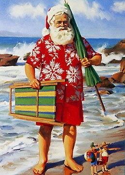 Santa at the beach NZ style