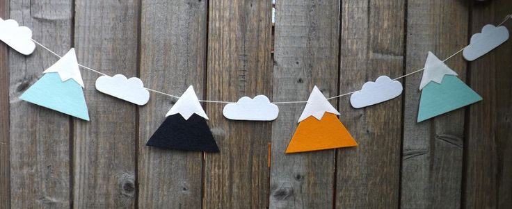 Mountain garland, Mountain Bunting, Mountain and Cloud, Mustard Yellow, Gold Mint Aztec Decor, Mountain Art, Ski Decor, Mountains, Felt Navy by FeltWitch on Etsy