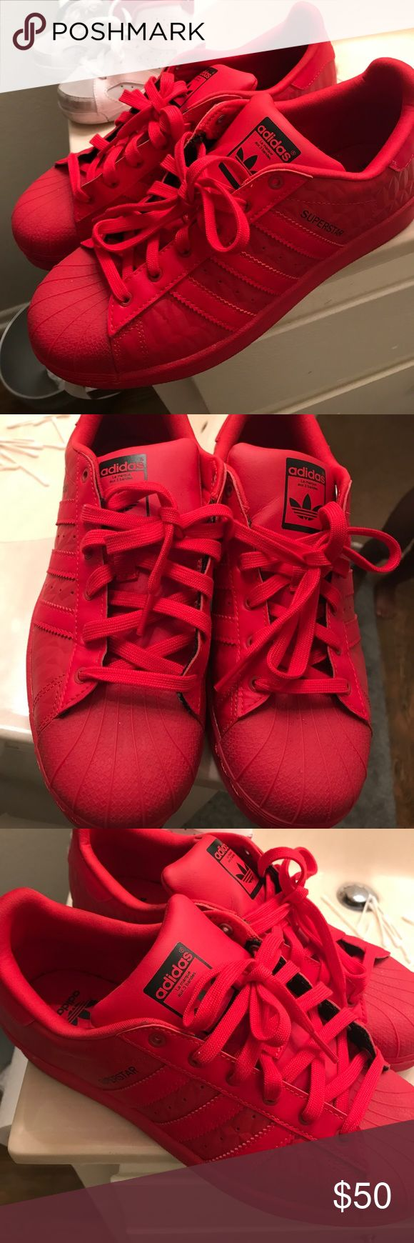 All Red adidas All Red original Adidas worn once size 7 in men's adidas Shoes Athletic Shoes