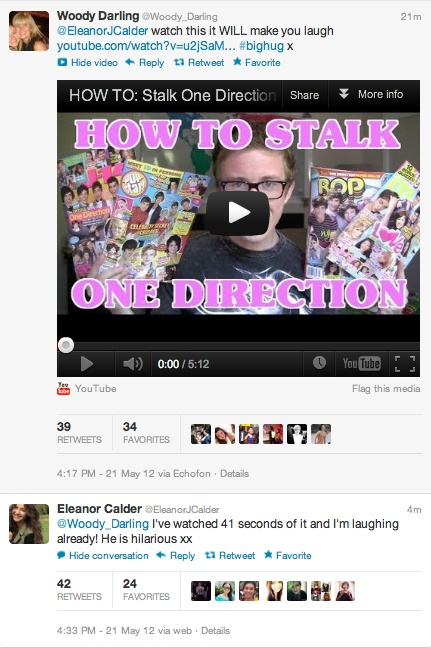 tyleroakley:    Eleanor Calder (the girlfriend of Louis from One Direction) has seen my new video about me fangirling over One Direction. The Internet is just so beautiful.    OMG THO BLESS