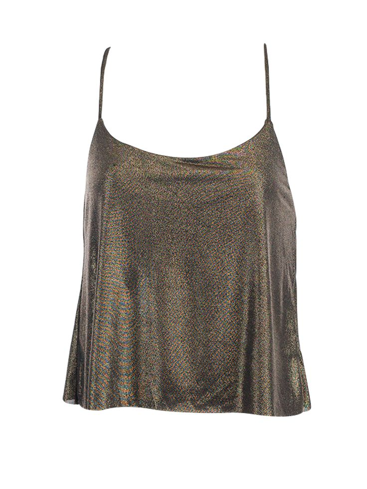 Gold Metallic Midriff Top By Nicole Richie