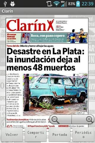 The front cover of major newspapers in Argentina now on your Android! You can knows about the news from Argentina daily seeing the covers of your favorite newspapers.<p>You will have a long list of available newspapers as Clarin,Ámbito Financiero,Buenos Aires Herald,Crónica,Olé,La Nación,El Libertador ...<br>You will also see the newspapers of the Argentine regions like Buenos Aires,Cordoba,Mendoza,Corrientes,Tucuman ...<br>And the most important front covers you can share with your friends…