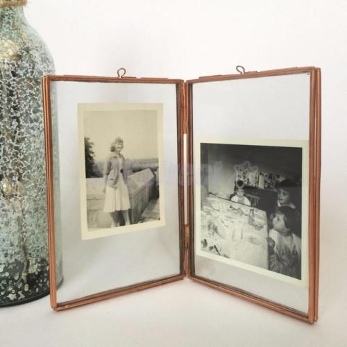 freestanding picture frame antique brass double sided glass 55 x 63 - Double Sided Glass Frame