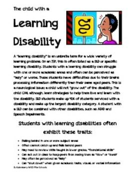 Working with Students with a Learning Disability. Handout for student teachers, assistants, gen ed teachers, subs, etc.
