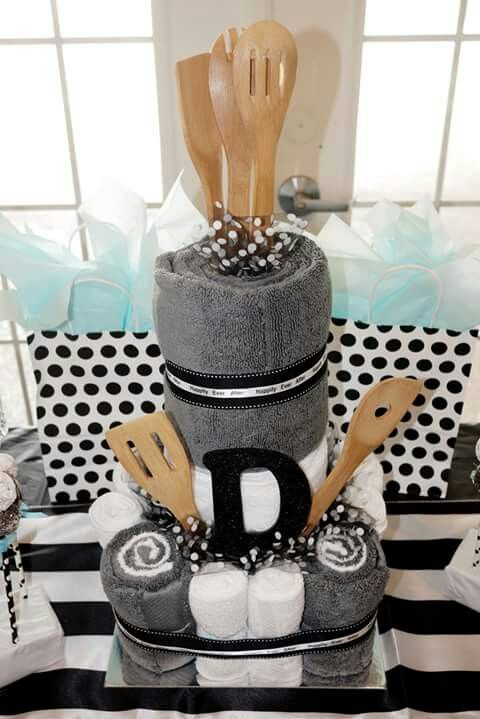 Towel Cake (for bridal shower); kitchen theme