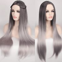 heat resistant women wig long straight part bang style hair black gradient color