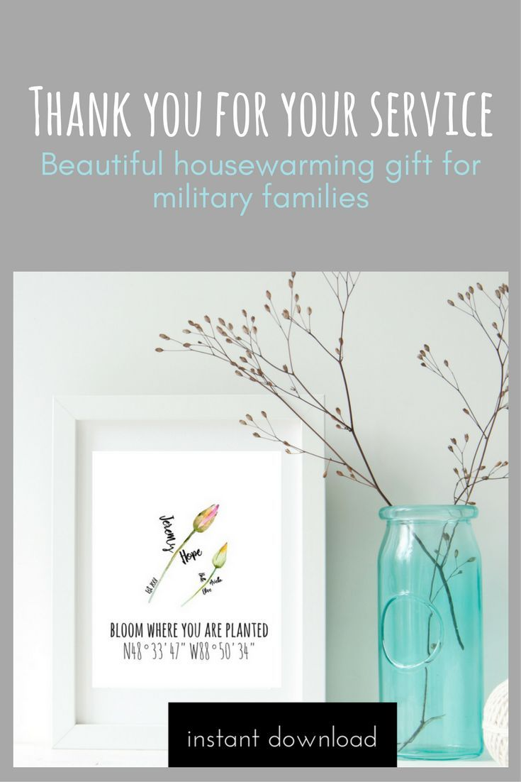 "This watercolour printable is custom to include your family's names along with the sweet quote ""Bloom where you are planted"" and the coordinates of where you are ""blooming"". Print easily from home or local photo lab and add to your home decor, or give as a gift. Would make for a sweet housewarming gift or as a moving gift to your military family."