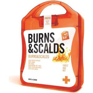 The MyKit Burns & Scalds includes Dry Swabs x 2, Burn Gel x 2, Burn Lint Pads x 2, Wash Swabs x 4 and Washproof Plasters x 12. MyKits from www.maxmerchandise.co.uk